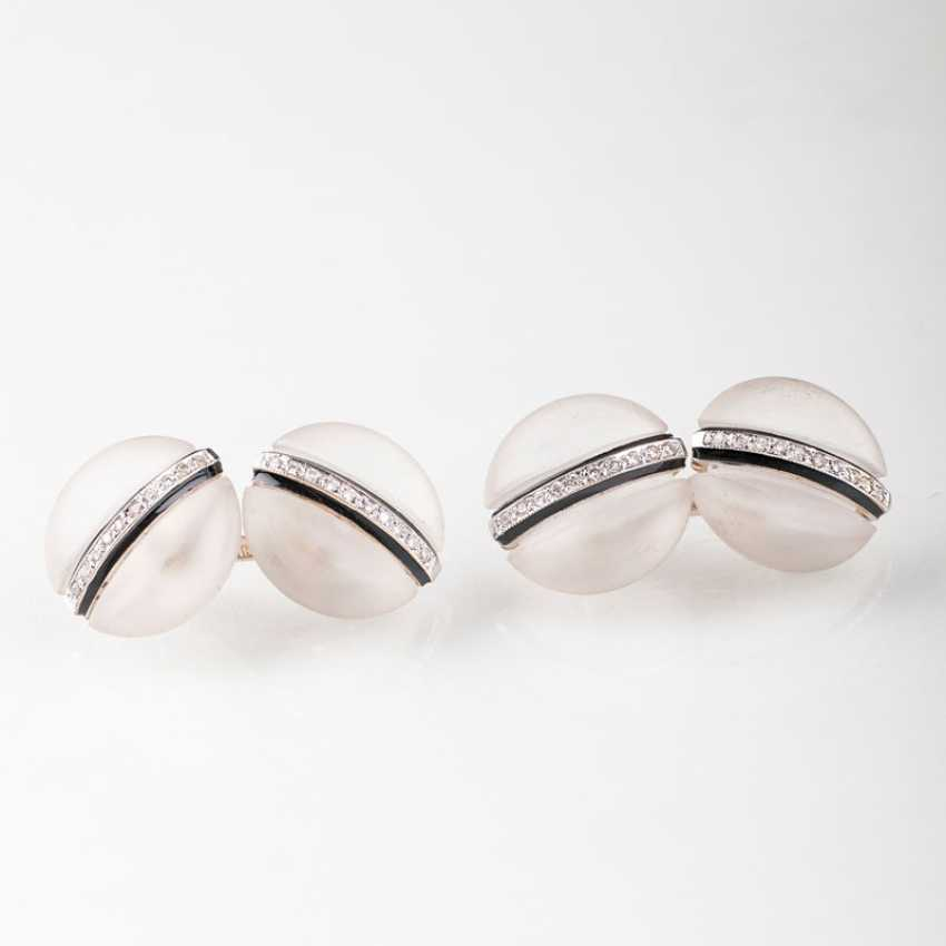 """""""Pair of cufflinks with rock crystal and brilliant-stocking"""" - photo 1"""