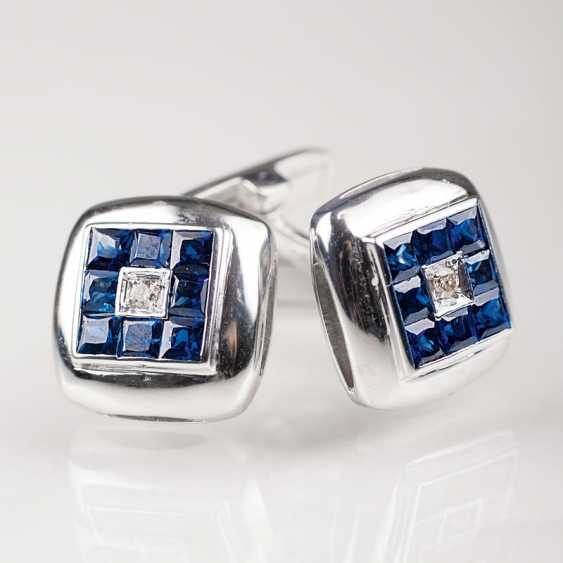 """Pair Of Sapphire And Diamond Cufflinks"" - photo 1"