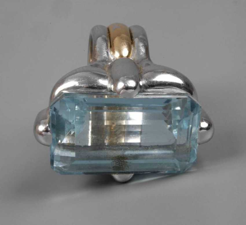 Ladies ring with large blue Topaz - photo 1