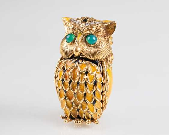 "Pierino Frascarolo ""miniature gold box 'owl' with diamond trim"" - photo 1"