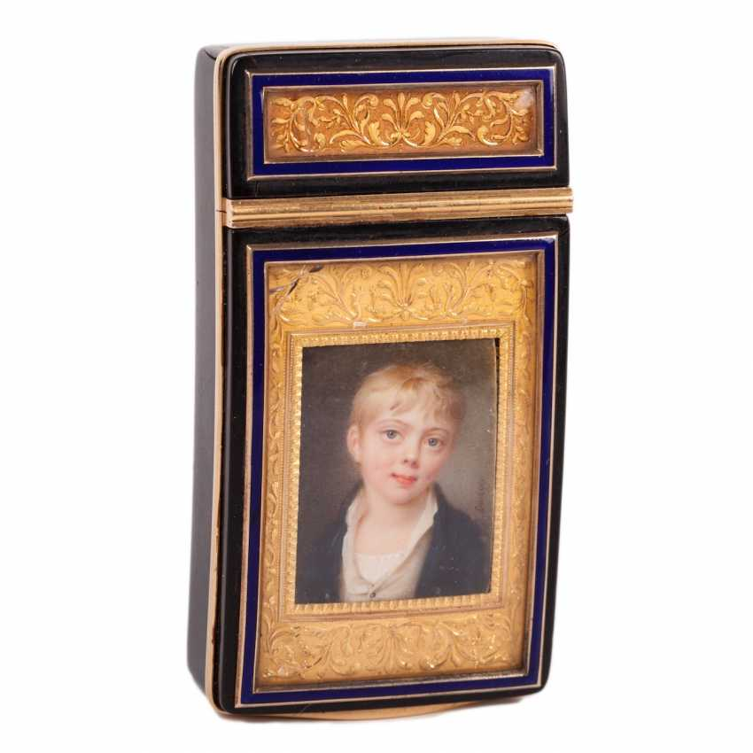 A gold box with a miniature of Napoleon II, executed by the French painter Jean-Antoine Laurent