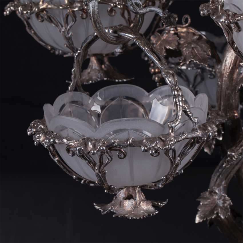 Vintage silver plated centres for caviar in the form of grape wood with 6 baskets