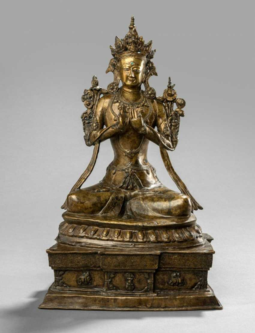 Bronze of Maitreya on a Pedestal sitting, in two Parts worked - photo 1