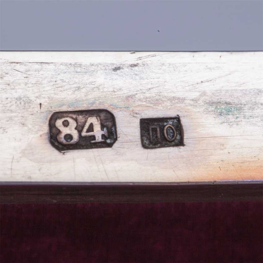Large Russian casket with blackening. Silver, 84. The Mark Of P. Ovchinnikov - photo 5