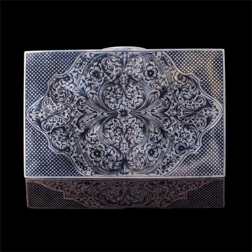 Russian silver box with niello - photo 4