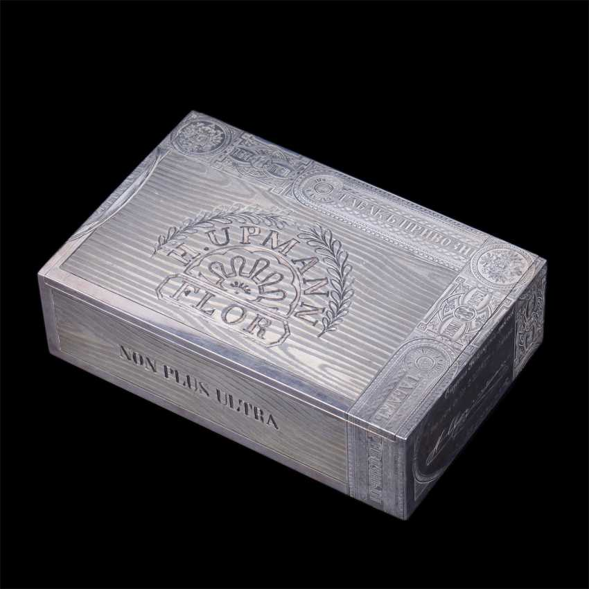 Russian silver cigar box. Ovchinnikov