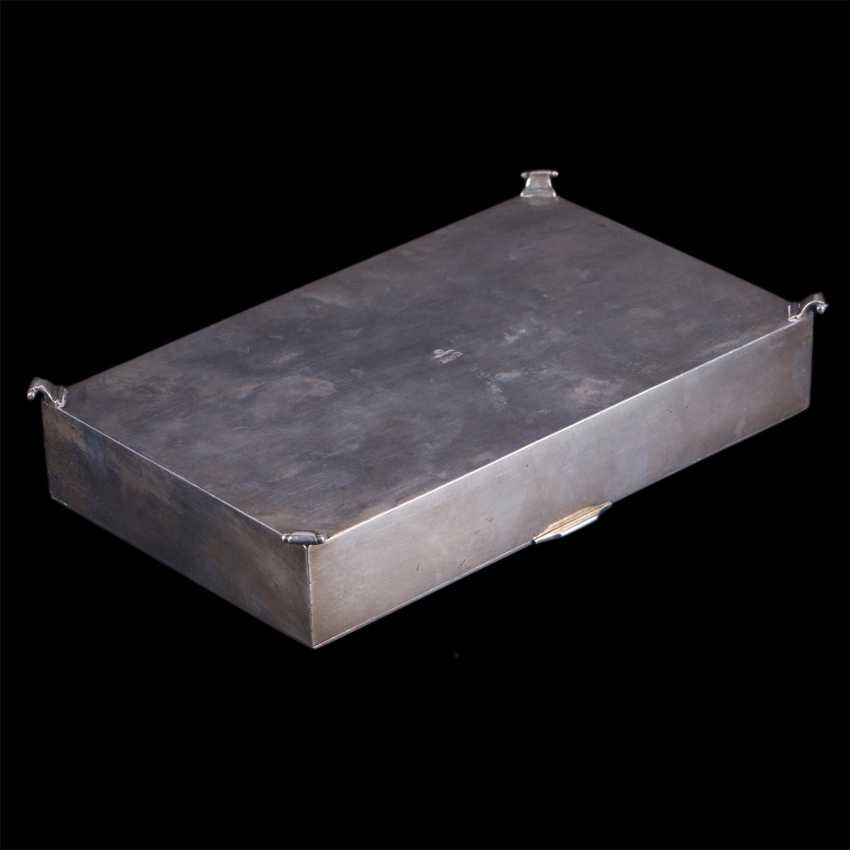 Russian silver cigar box with a dedicatory inscription