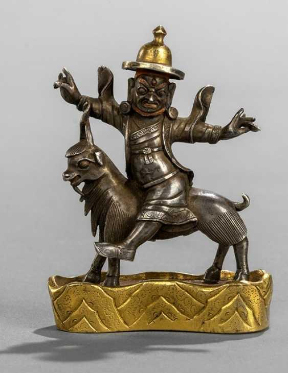 Fine silver figure of a Pehar on a goat on a fire-gilt Stand - photo 1