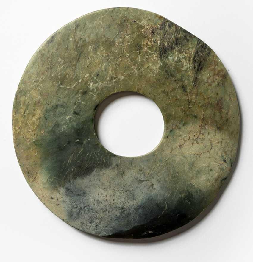 'Bi'disc made of grey-green Jade - photo 1