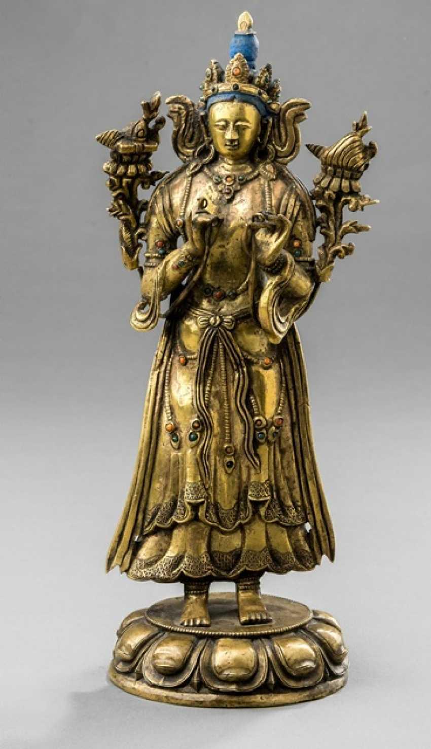 Fire-gilt Bronze of Tara on a Lotus - photo 1