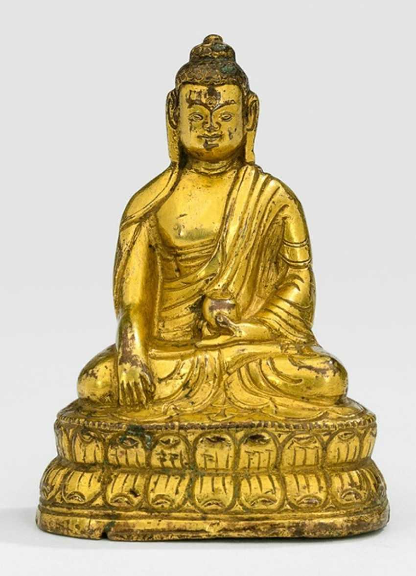 Fire-gilt Bronze of Buddha on a Lotus - photo 1