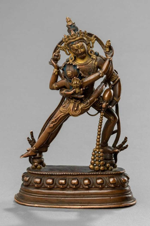 Rare Bronze sculpture of Jambhala with consort - photo 1