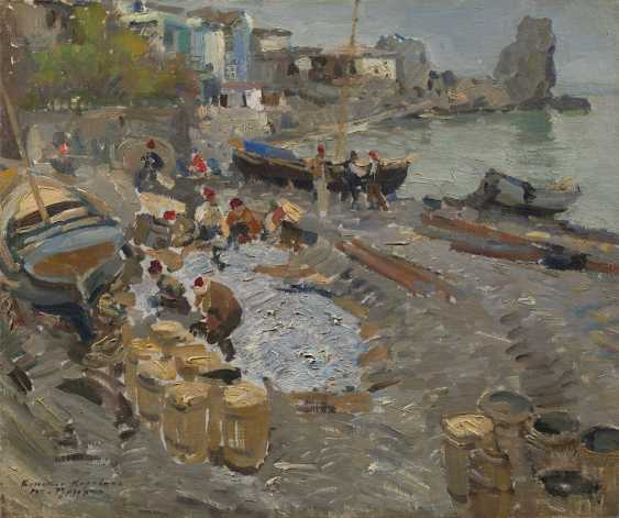 """Fishing Boats, Gurzuf, signed, inscribed in Cyrillic """"Gurzuf"""" and dated 1911. - photo 1"""