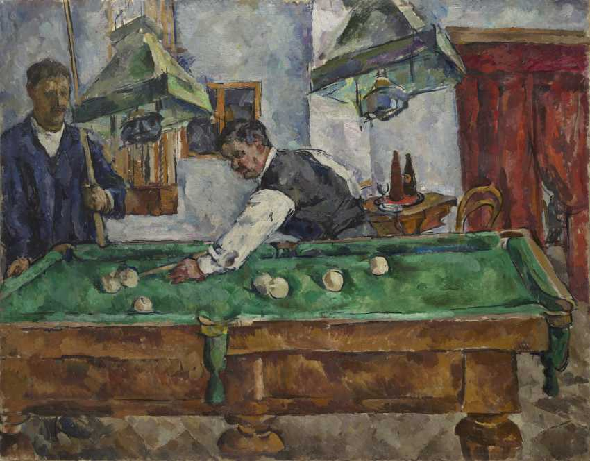 "The Game of Billiards. Aristarkh Lentulov and Petr Konchalovsky, titled in Cyrillic, numbered ""307"" and dated twice 1918 on the reverse. - photo 1"