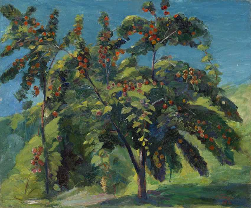 "In the Peach Garden, signed and dated 1938, also further signed, titled in Cyrillic, numbered ""418"" and dated on the reverse. - photo 1"