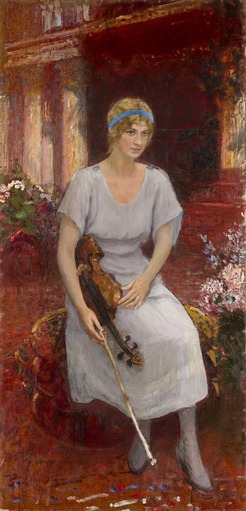 Portrait of the Violinist Cecilia Hansen, signed. - photo 1