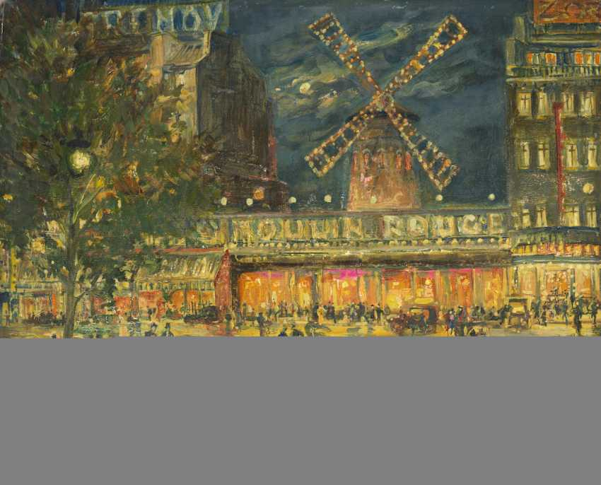 """Moulin Rouge by Night, signed and inscribed """"Paris"""". - photo 1"""