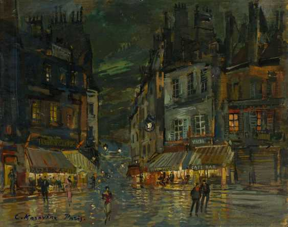 """Corner Cafes in Paris, signed and inscribed """"Paris"""", further with the artist's stamp on the reverse. - photo 1"""