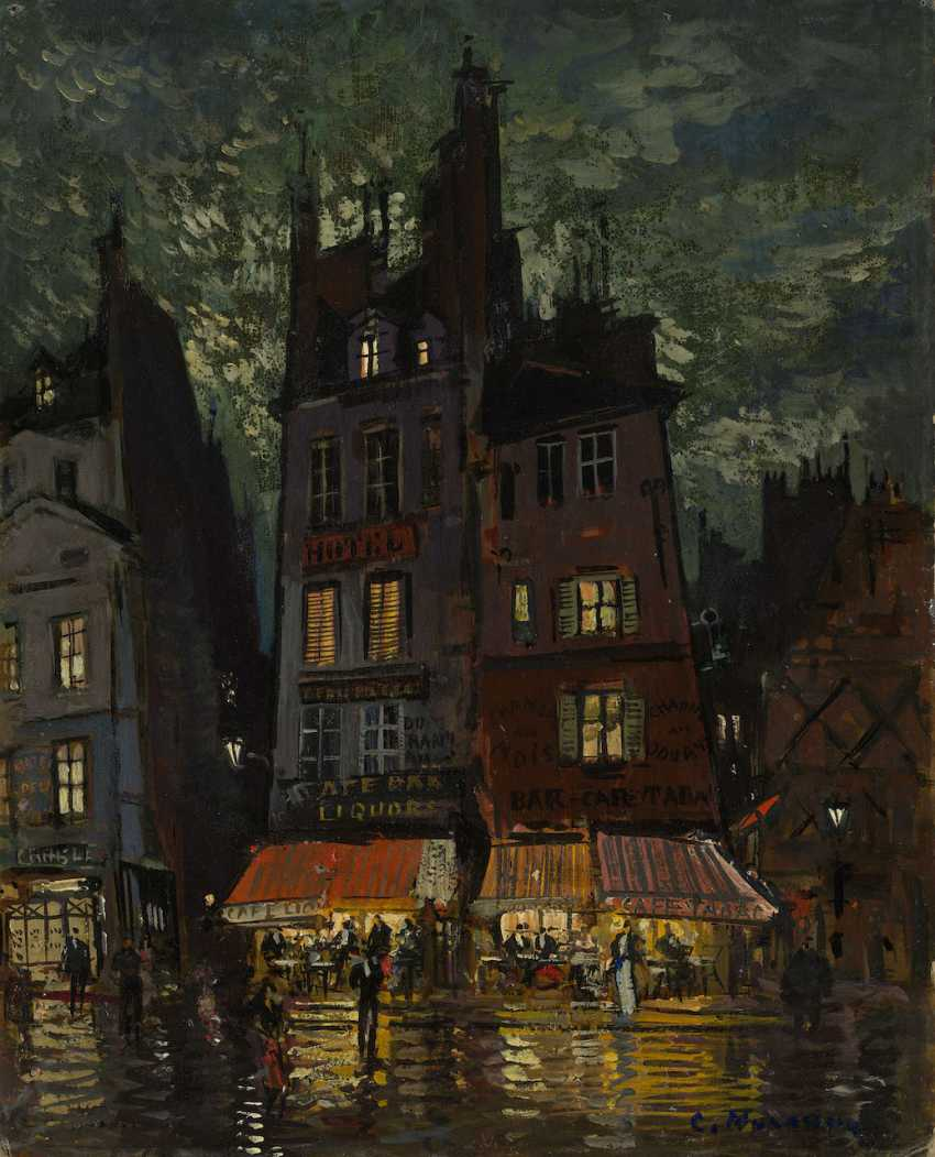 """Nightlife on the Rue Venis, Paris, signed, further inscribed """"Paris"""", titled and dated 1932 on the reverse. - photo 1"""