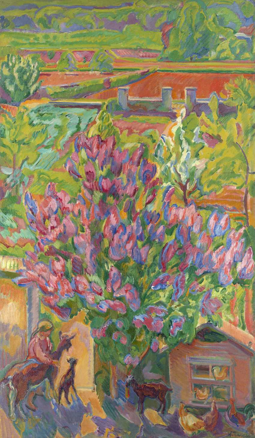 """Mon jardin a Orsay, signed, also further signed, inscribed """"Orsay/Seine et Oise"""" and titled twice in French and Russian on the reverse. - photo 1"""