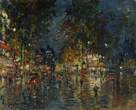 """Parisian Boulevard by Night, signed and inscribed """"Paris"""". - photo 1"""