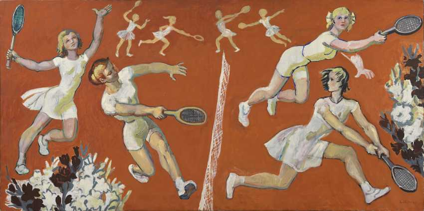 Game of Tennis, signed, also further signed, titled in Cyrillic and dated 1978 on the stretcher. - photo 1