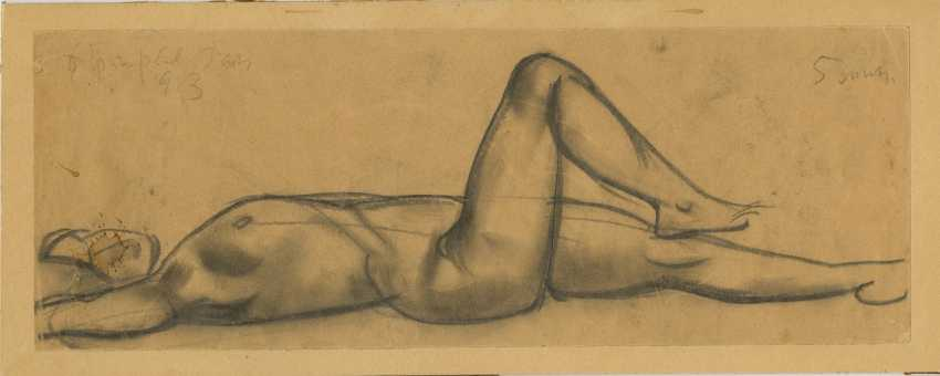 """Reclining Nude, signed, inscribed """"Paris/5 min"""" and dated 1913. - photo 1"""