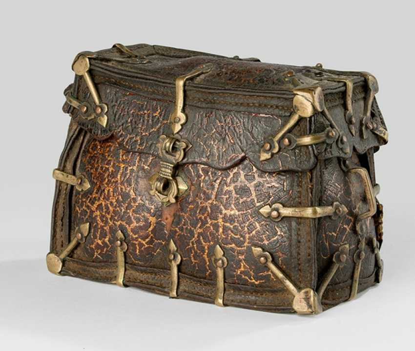 Container made of leather with brass fittings - photo 1