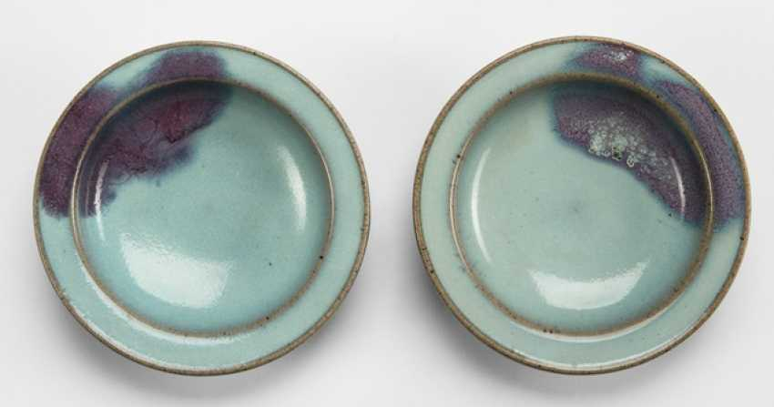 Two small 'Junyao'-plate with a violet stain - photo 1