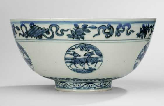 Large bowl with underglaze blue animal decor in round cartridges - photo 1