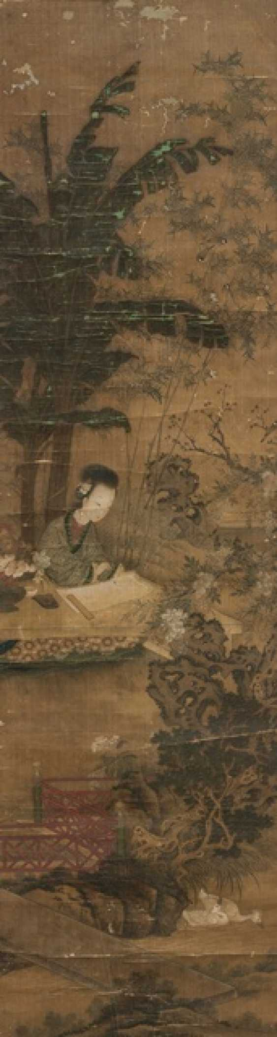 Anonymous figure painting with a representation of a writing lady in the garden - photo 1