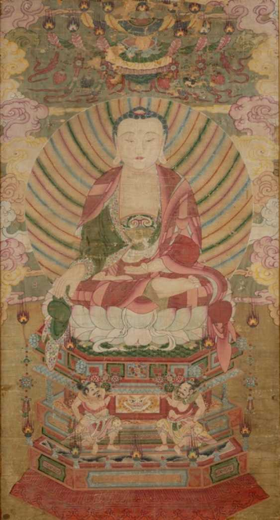 Anonymous painting of a Buddha on Lotus throne - photo 1