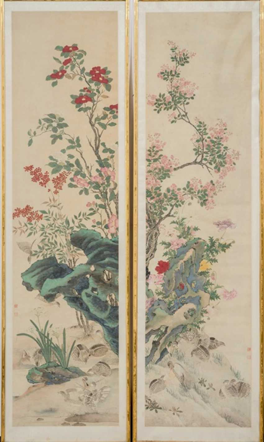 Series of four paintings with quail among the flowers of the four seasons - photo 1