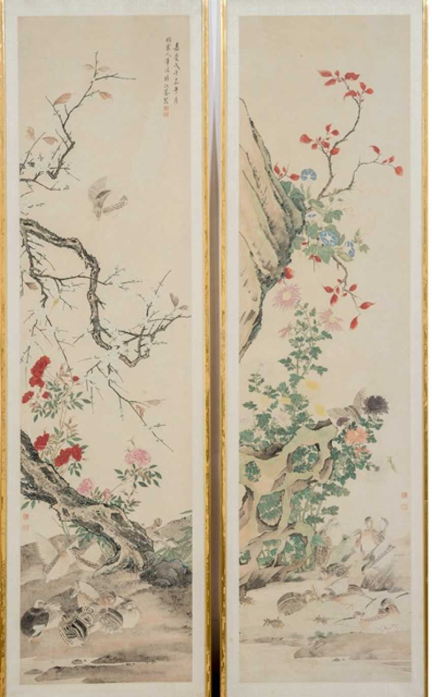 Series of four paintings with quail among the flowers of the four seasons - photo 2