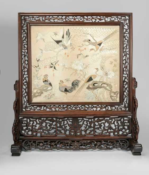 Fine silk embroidery with bird motif as a table control screen in carved Stand - photo 1