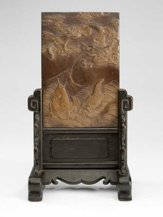 Duan stone with dragon and fish decoration as a table control screen mounted - photo 1