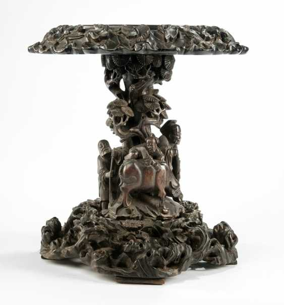 Stand made of hard wood with a carving of a old scholar and a young Buffalo - photo 1