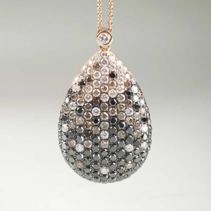 Pendant with multi-colored diamond insert on the chain - photo 1