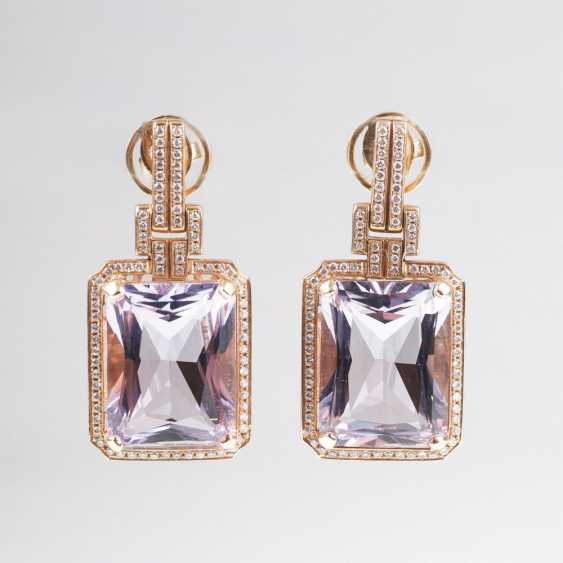 Couple of color of fine Amethyst and diamond earrings - photo 1