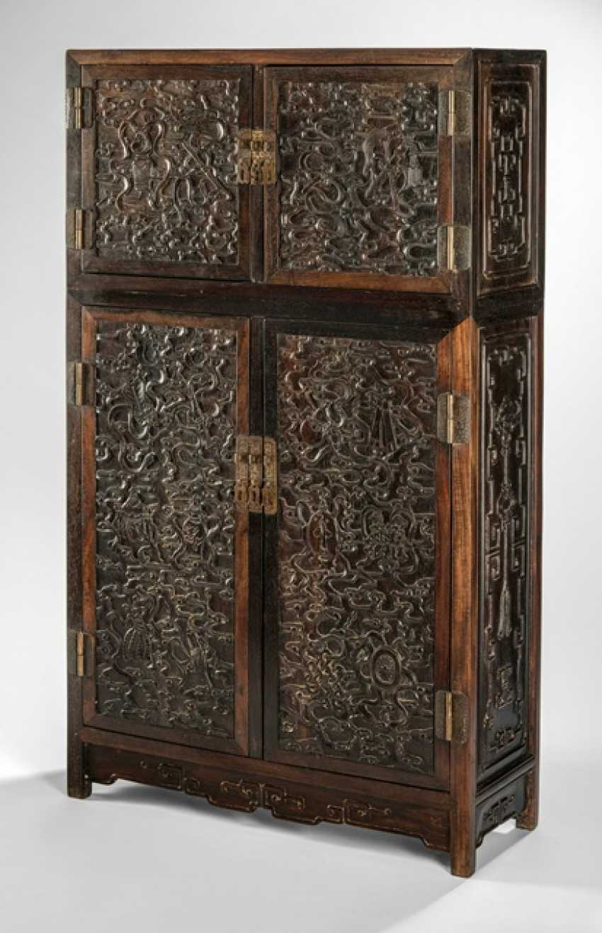 Fine Cabinet made of hard wood with Buddhist emblems and clouds pattern - photo 1