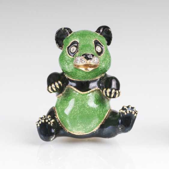 Miniature-Gold-box 'Panda' with brilliant and enamel decor - photo 1