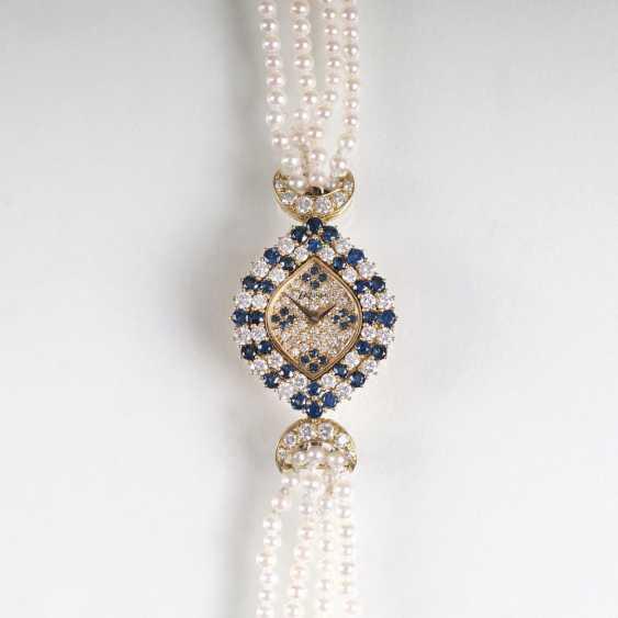 Vintage ladies jewelry wrist watch with diamond and sapphire trim - photo 1
