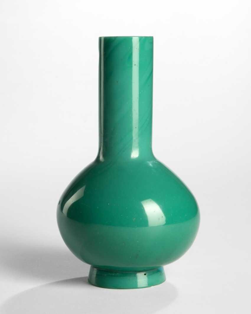 Flaschenvase aus blaugrünem PekinGelbgoldlas - photo 1