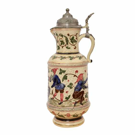 Great wine pitcher made of earthenware, glazed, 1900, - photo 2