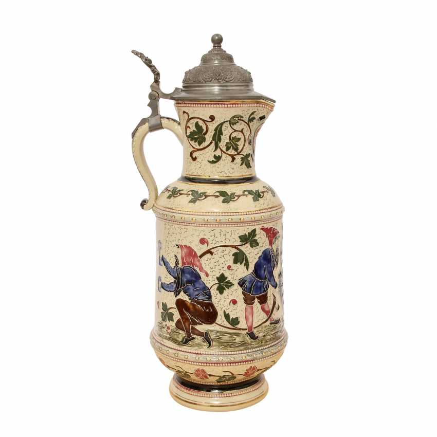 Great wine pitcher made of earthenware, glazed, 1900, - photo 4