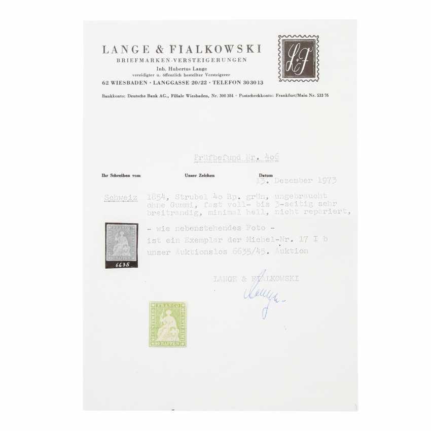 Swiss Federal Post - 1854, 40 Rp., Strubel, - photo 1