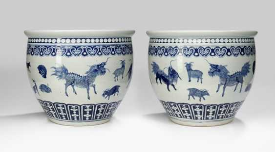 Pair of large Cachepots with zodiac decor in under glaze blue - photo 1