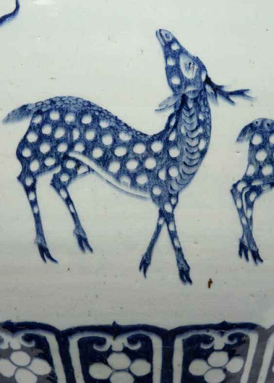 Pair of large Cachepots with zodiac decor in under glaze blue - photo 2
