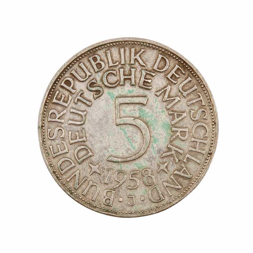 BRD 5 Deutsche Mark 1958 J, - photo 2