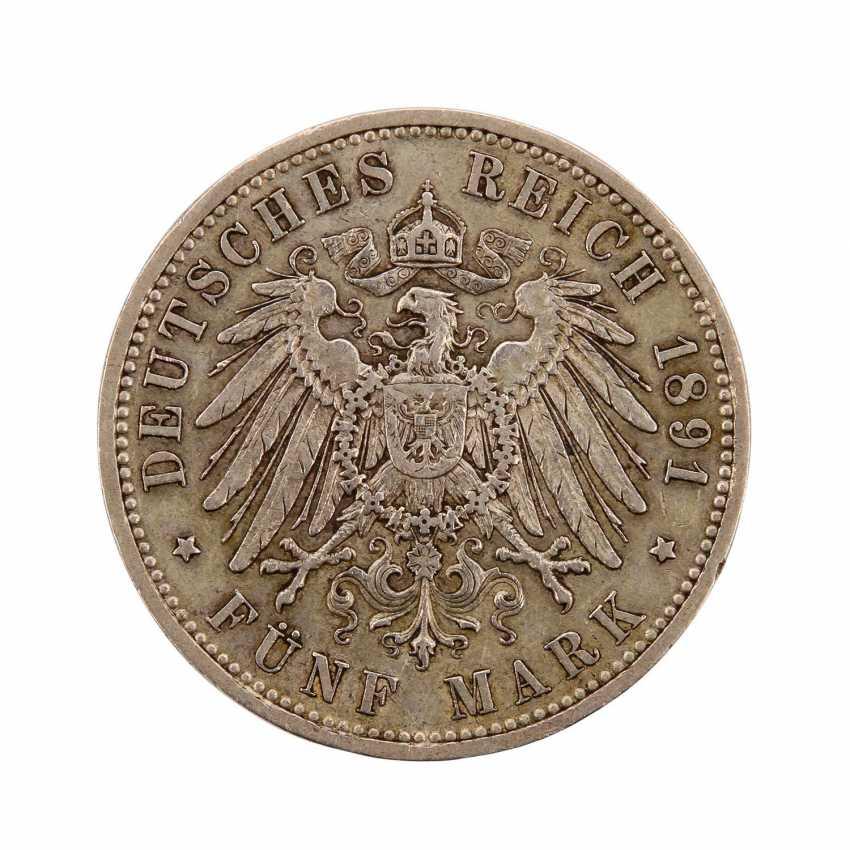 Hessen - 5 Mark 1891 A, - photo 3